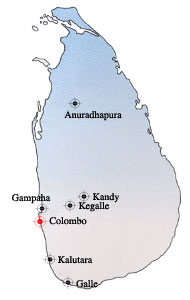 Sri Lanka Map with SLFVH district branches marked